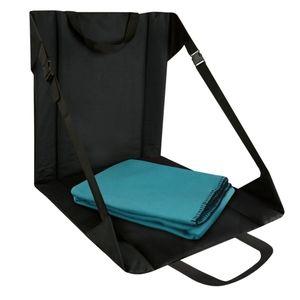 Stadium Seat Chair Black W/ Teal Fleece Blanket OS